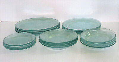 Vintage Handmade Green AnnieGlass 5 Piece Setting for 4 Signed and Dated 1987