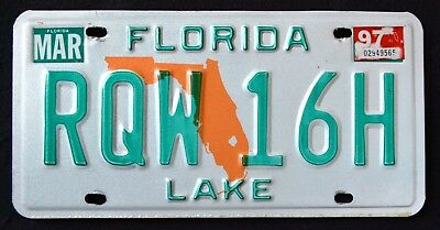 "FLORIDA "" ORANGE STATE MAP - LAKE COUNTY "" 1997 FL Vintage Classic License Plate"