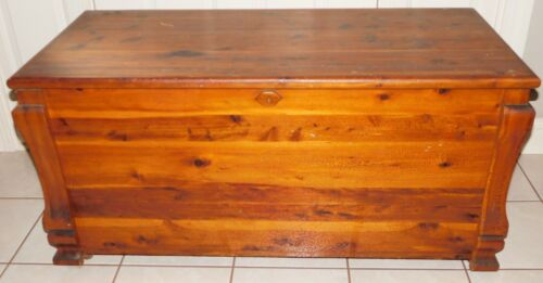 Antique Large Hand Made all Cedar Wood Blanket Chest Empire Age Design 45 x 21