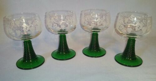 "(4) German Roemer 4.5"" Wine Glasses Etched Grape Bowls W/ Green Beehive Stems"