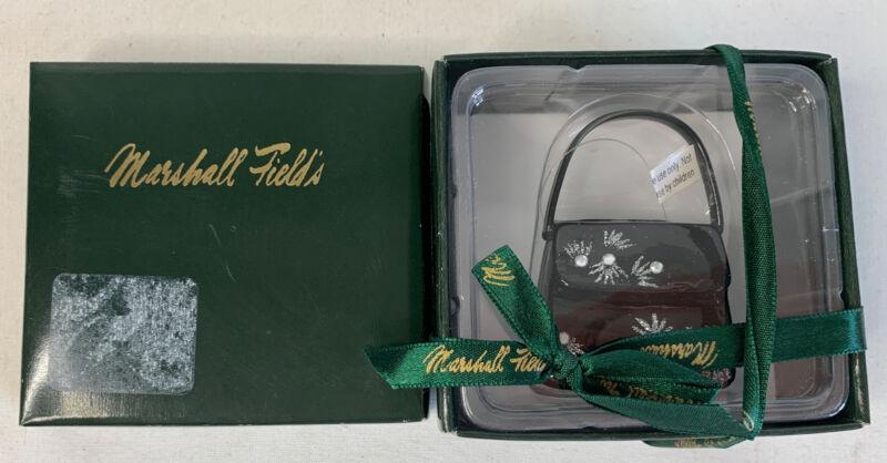 Fab NIB Black & Silver Glass PURSE Ornament Marshall Fields Handbag Christmas