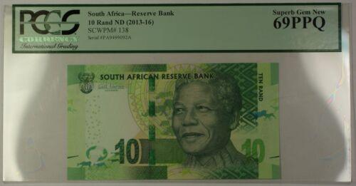 (2013-16) ND South Africa Mandela 10 Rand Note SCWPM# 138 PCGS Superb Gem 69 PPQ