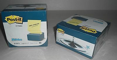 2 X Post It Notes Pop Up Desk Grip Blue Dispensers 3 X 3 Canary Notes
