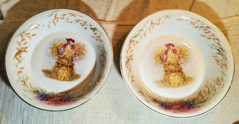 2 ANTIQUE CHINA BOWLS ADVERTISING QUAKER ROLLED WHITE OATS INSIDE GREATCONDITION