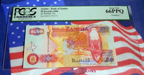 2006 $K50 BANK OF ZAMBIA ~ PCGS SAMPLE SLAB GEM NEW 65PPQ ~ VERY RARE!