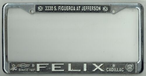 RARE Los Angeles California Felix Chevrolet Cadillac Vintage License Plate Frame