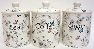 Secret Garden Tea Coffee Sugar Canisters Bone China Storage Jars Hand Decor UK