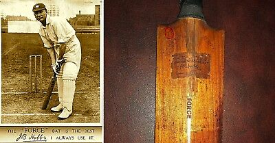 JACK HOBBS(THE BABE RUTH OF CRICKET) SIGNED GAME USED BAT-ANTIQUE ca:1908 - JSA