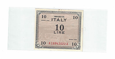 ITALY ALLIED MILITARY CURRENCY 10 LIRA 1943 Pick# M13a AU-CHOICE UNC.. ( #797 )