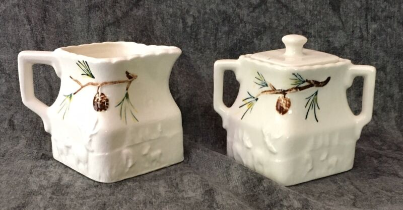 Vintage Victoria Ceramics Pine Cones Creamer and Sugar Bowl With Lid