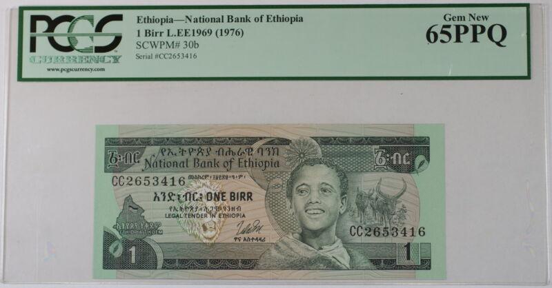 L.EE1969 (1976) Ethiopia 1 Birr Note SCWPM# 30b PCGS 65 PPQ Gem New