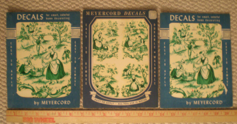 Lot 3 VTG Meyercord Green Decals People Country Farm Scene St Patricks Day Kitch