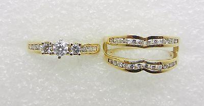 14K ESTATE DIAMOND RING GUARD WEDDING SET  -  LB1580