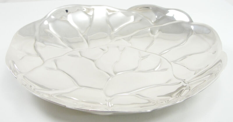 Tiffany & Co Sterling Silver Makers 25225 Lettuce Plate Cabbage Leaf Dish