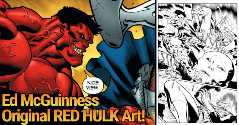 RED HULK 🔥 Ed McGuinness Original Art 🔥 Issue #4 Page 4 - Defeats The Watcher!