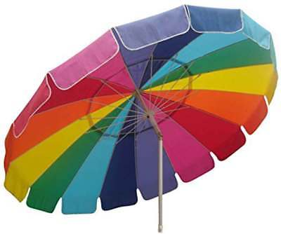 Beach Umbrella with Sand Anchor Auger Rainbow Color 8ft foot Patio Sun Shade - Rain Bow Colors