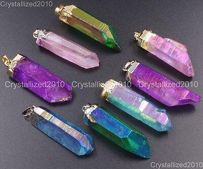 Natural Gemstone Crystal Quartz Rock Titanium Coated Pendant Necklace Beads 18K 18k Titanium Necklace