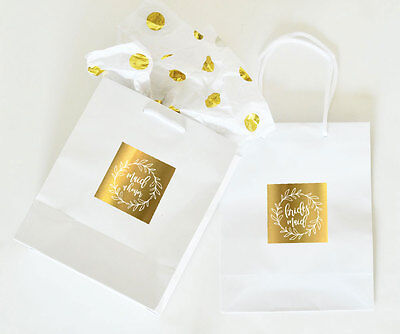 Bridesmaids Gift Bags (Gold Bridal Party Wedding Gift Bag Bride Bridesmaid Maid of Honor Mother)