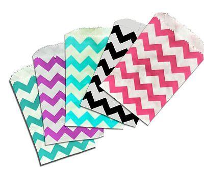 50 Multi Colored Mini Chevron 3x5 Inch Paper Bags, Treat Bags, Favor Gift Bags