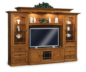 Amish TV Entertainment Center Solid Wood Media Wall Unit