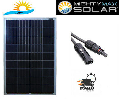Mighty Max 100 Watt Solar Panel 12V Poly Off Grid Battery Charger for RV (100w)