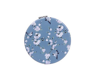 Ladies Vintage Floral & Bird Print Compact Mirror (Make-up / Pocket / Handbag)