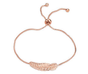 Rose Gold Feather Charm Bracelet