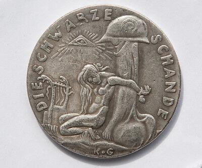 #1 of 2. Restrike Of The 1920 Watch On The Rhine/Black Shame Medal By Karl Goetz