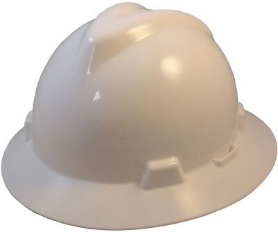 Msa Full Brim V-guard Hard Hat With Ratchet Suspension - White