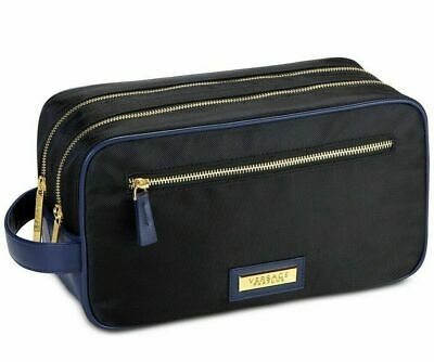 VERSACES PARFUMS DARK BLUE Toiletry Pouch Travel Bag Shaving Case with Dust Bag