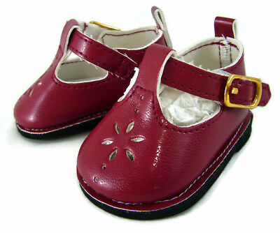 "Burgundy Wine T-Strap Shoes for 18"" American Girl Doll Cloth"