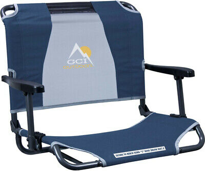 Outdoor Big Comfort Stadium Chair with Armrests Navy Blue Bl