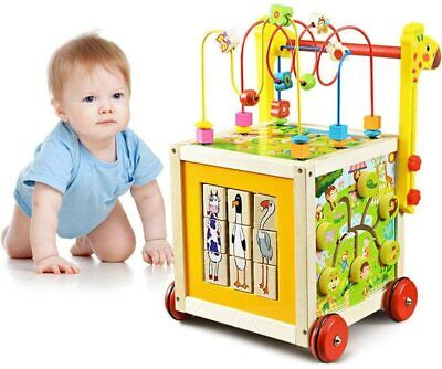 7 in 1 Wooden Toys Kids Learning Educational Toy Bead Maze Activity Cube Game