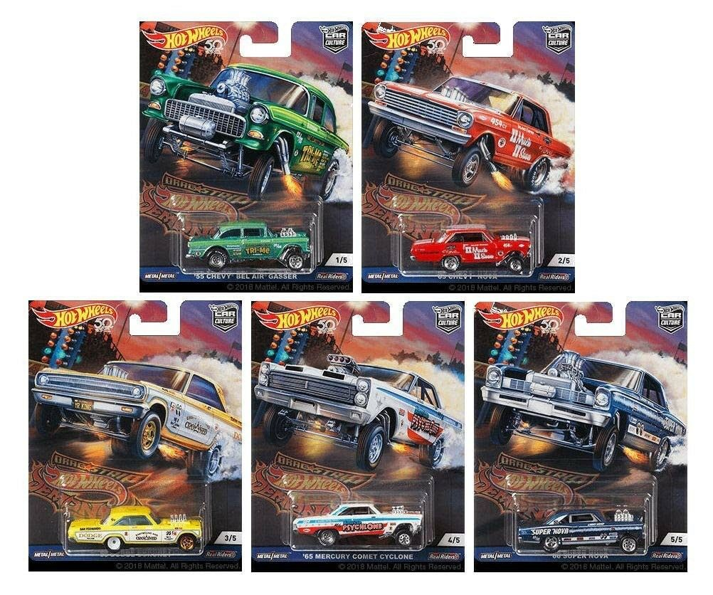 Hot Wheels Car Culture 2018 Drag Strip Demons Set of 5 Cars FPY86-956F