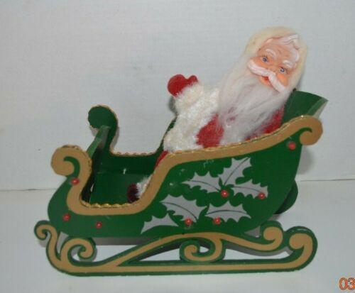 Vintage YULETIDE Expanding Folding Wooden Sled w/Santa-JAPAN-Gold/Green/Red-USED