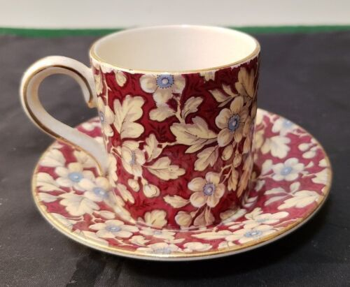 LORD NELSON ENGLAND DEMITASSE CHINTZ CUP & SAUCER - ROYAL BROCADE