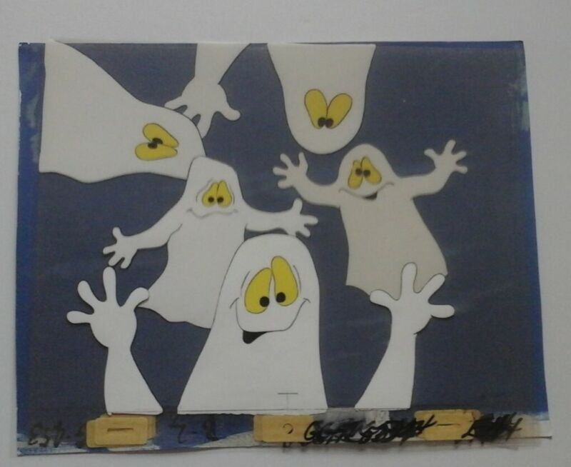 Groovie Goolies animation cells of 5 Ghosts and painted background