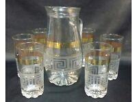 7PC GLASS WATER/DRINK/JUICE SET ,GLASSES & JUG DESIGNER DESIGN