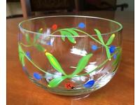 Hand painted 'ladybird' glass bowl