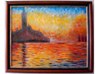 *** Hand Painting Oil Reproduction of San Giorgio Maggiore At Dusk of Monet - Mahogany Frame *