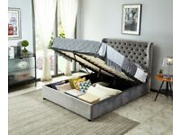 Joanna King Size Ottoman Smooth Velvet Bed - Grey
