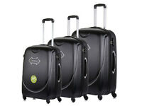 New Black 4 Wheel Luggage Suitcase Trolley Holiday Travel Bag Case 3 Piece Set Hard Shell Suitcases
