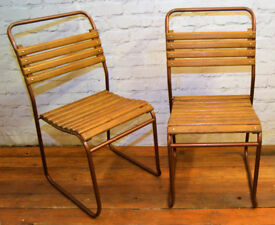 8 available vintage stacking chairs antique industrial retro cafe garden tubular metal kitchen