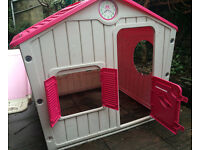 Childrens Outdoor Playhouse and Slide Plastic Pink