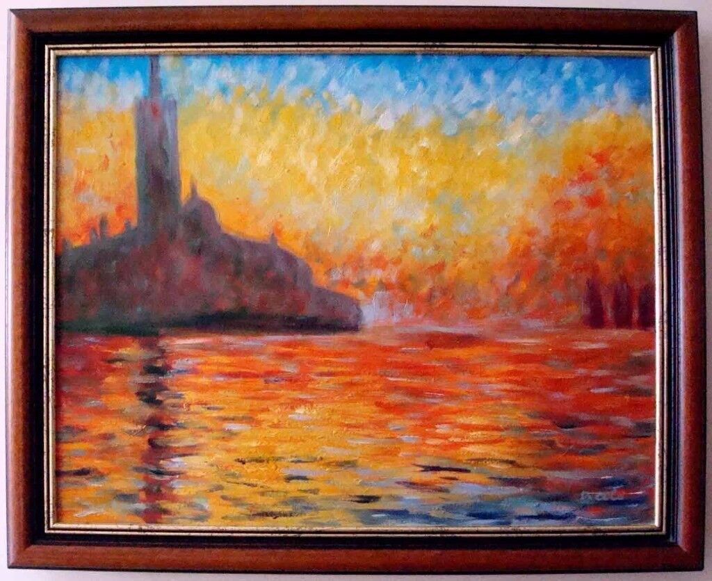 **** Hand painting oil reproduction of San Giorgio Maggiore At Dusk of Monet - mahogany frame***
