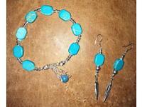 Brand New Handmade Teal Bangle & Earrings Set Makes Lovely Gift £5