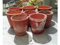 8 vintage terracotta pots