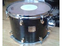 Yamaha Maple Custom 14 x10 Tom, 90's, Black Maple w/gold lugs