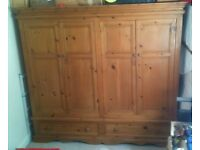 Pine wardrobe four doors with two drawers