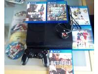 PlayStation 4 (Sony PS4) with 10 games, Grand Theft Auto, Battlefield, Fifa, Star Wars, Mafia, Alien